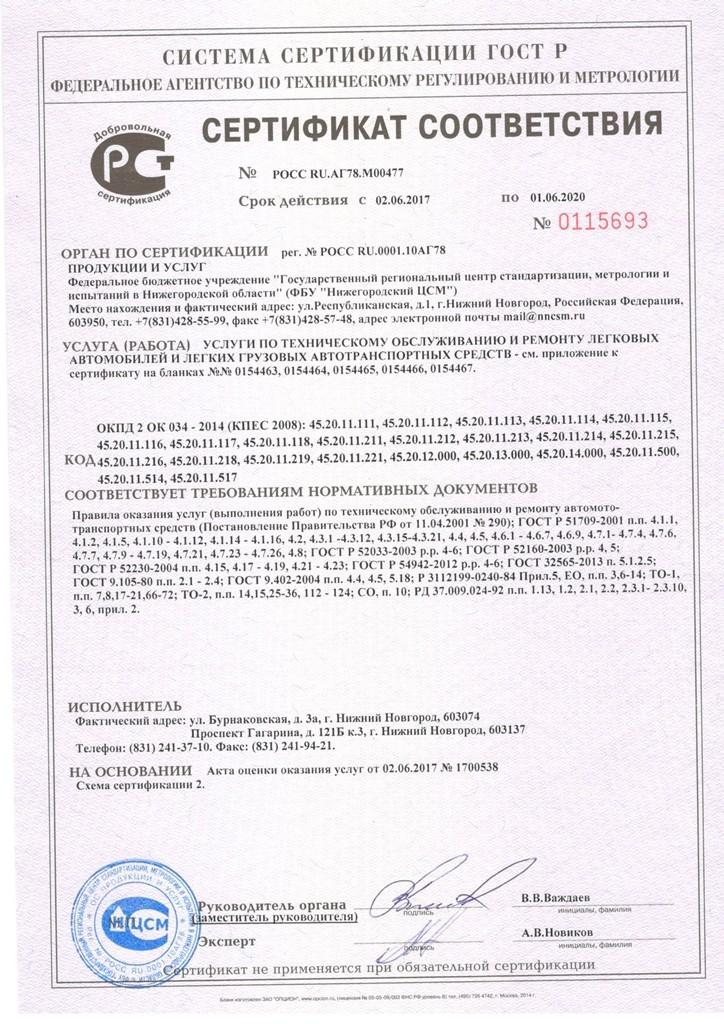 Сертификат Восток-Авто