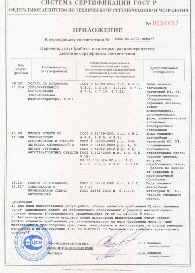 Сертификат установка автосигнализации гарантия